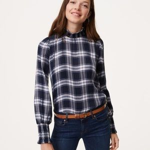 LOFT NWT plaid semi-sheer mock-neck blouse, XL